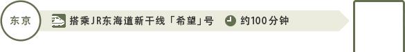 从东京出发:东京站到名古屋站约100分钟(搭乘JR东海道新干线 「希望」号)