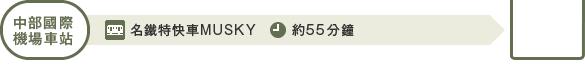 从中部国际机场站出发:中部国际机场站乘坐Musky到犬山站约55分钟